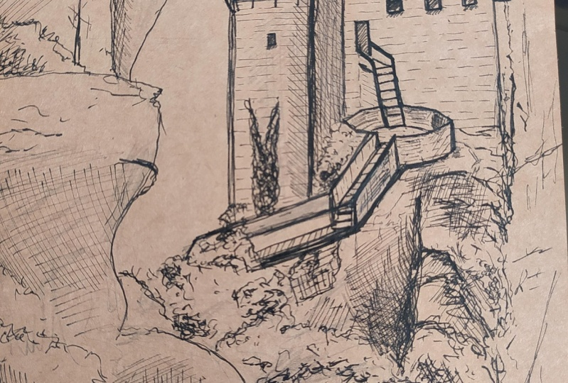 Pen drawing of Meteora, Greece