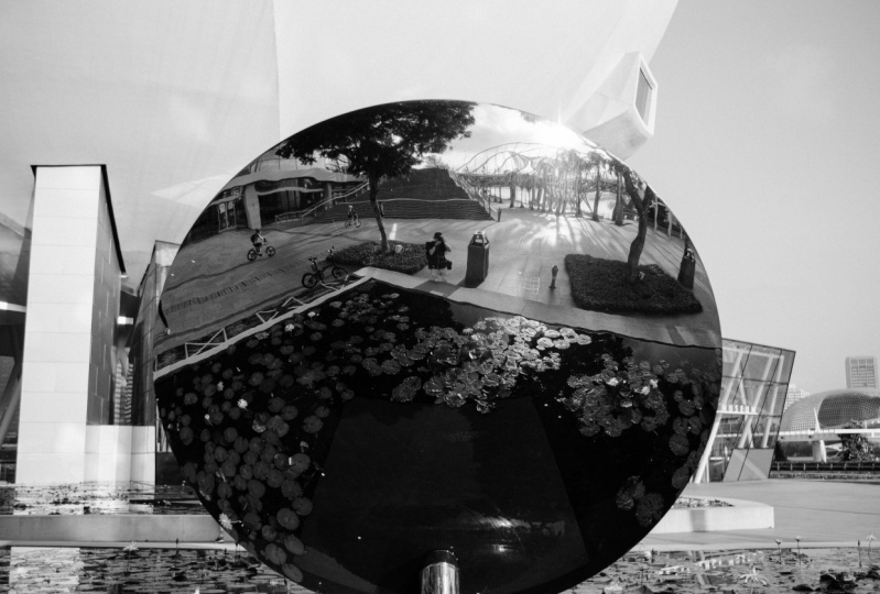 Self portrait and city scape with reflection