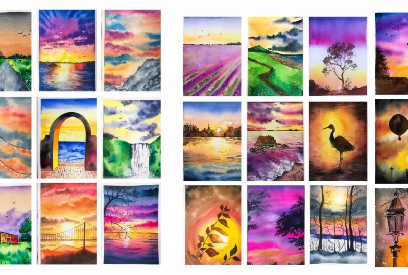 Watercolour Sunsets