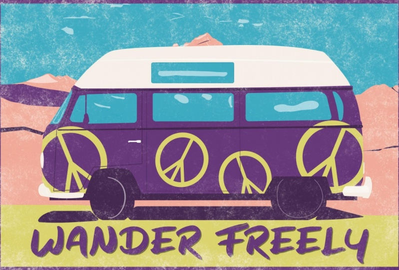 Hippy Postcard