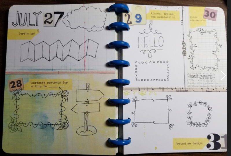 Borders drawn in my Year of the Doodle Calendar