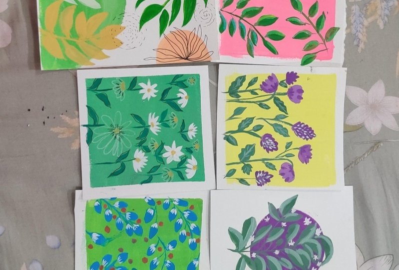 Pattern painting with gouache