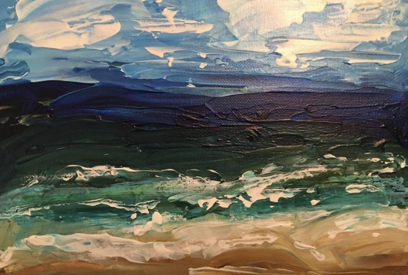 Seaside landscape with palette knives