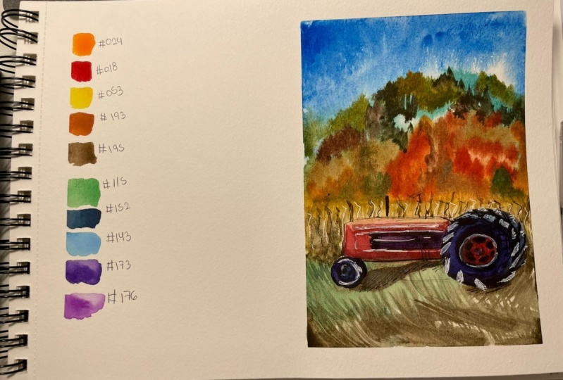 Harvester in a wheat field using watercolor
