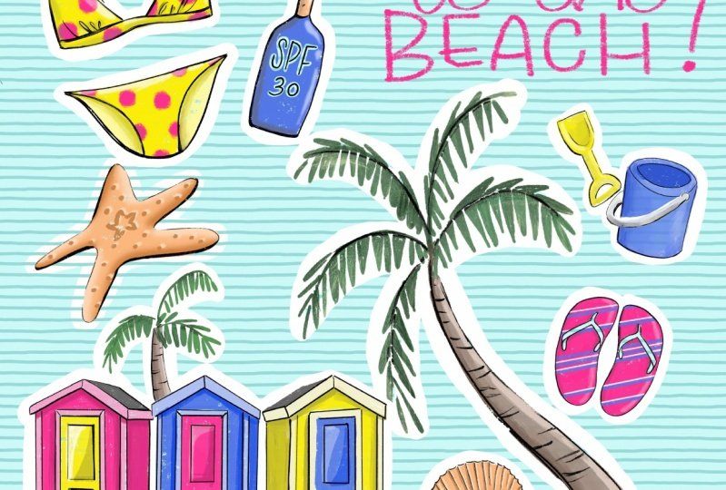 Let's go to the BEACH stickers