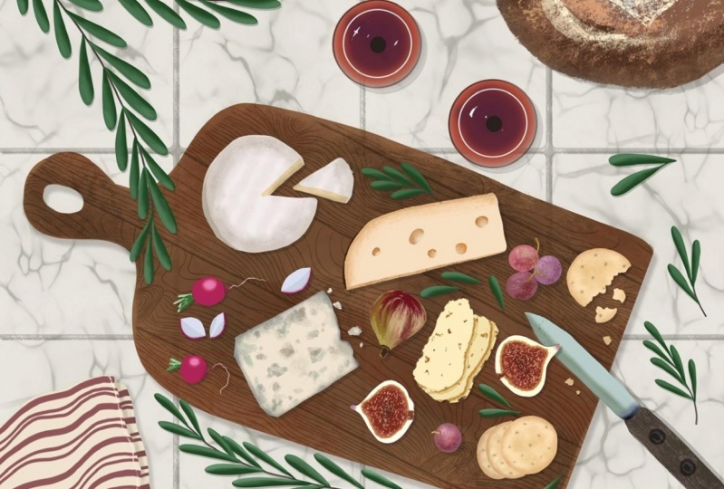 Wine and Cheese flatlay illustration