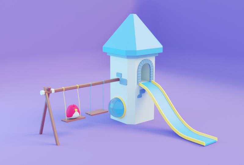 Bird in castle playground