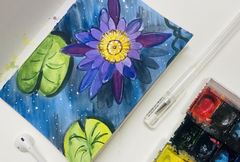 Watercolor lily and Lotus