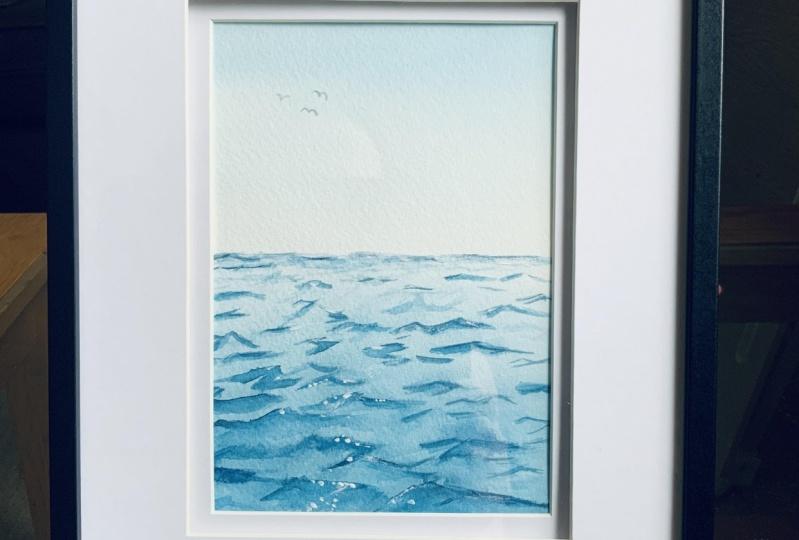 Simple watercolour ocean