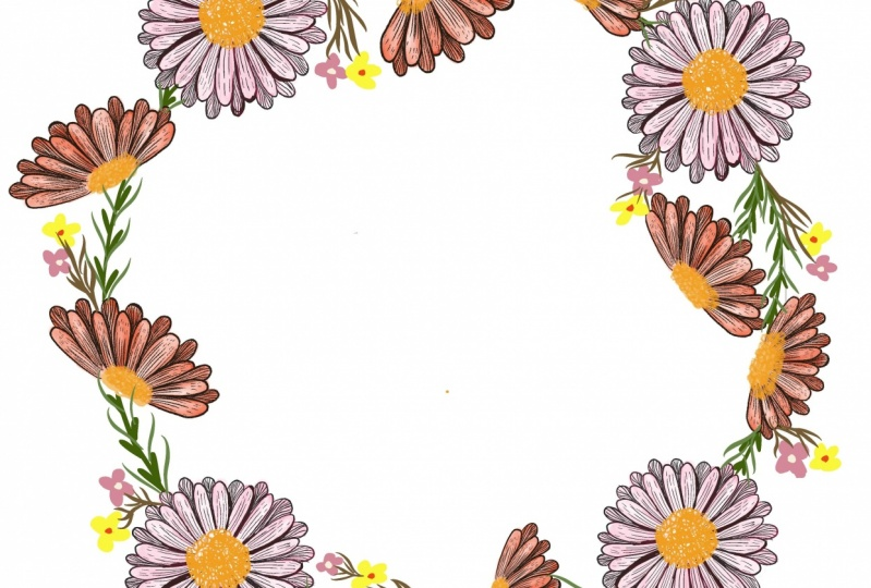 Line flower wreath