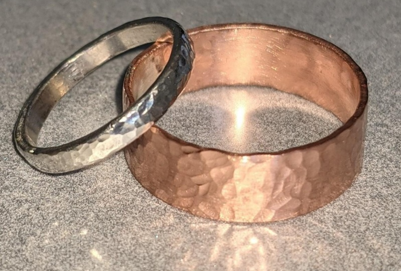 Copper and silver hammered ring