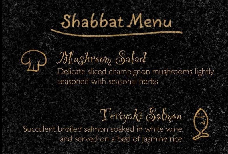 Shabbat Menu