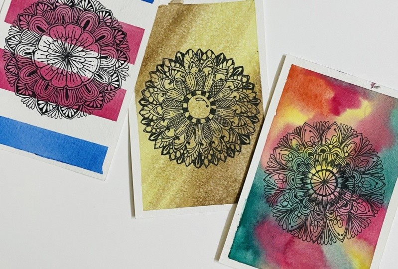Mandalas with watercolor backgrounds