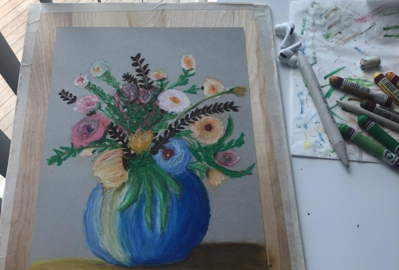 Flowers with oil pastels