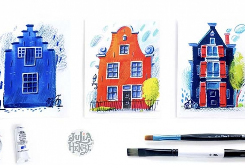 Example Project - Working with Gouache & Colored Pencils: Let's Draw Some Homes!