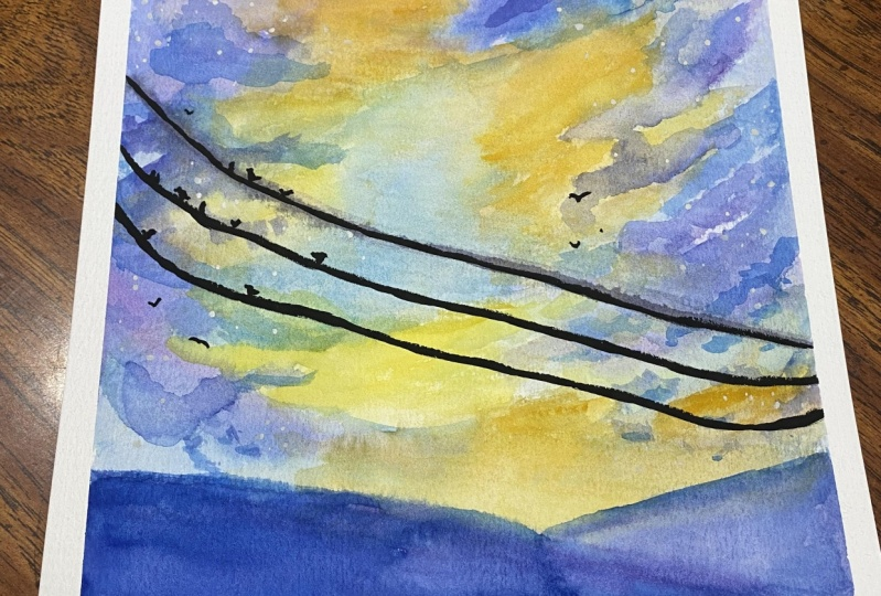 Loose watercolor sunset