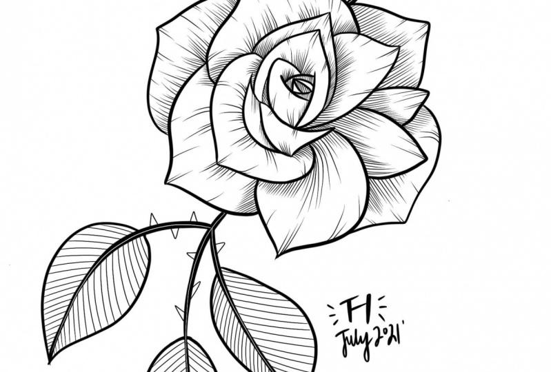 Line-work Rose