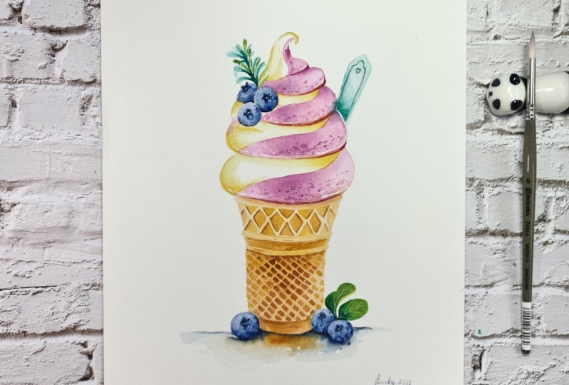 Blueberry Soft Serve in Cone