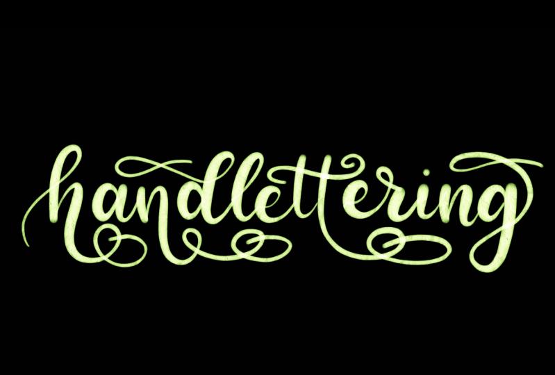 "flourishing the word ""handlettering"""