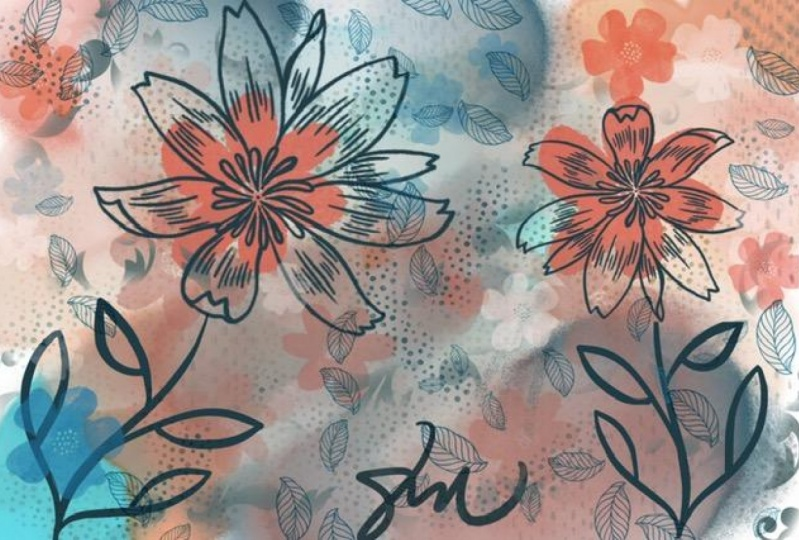 Floral Abstract Mix Media