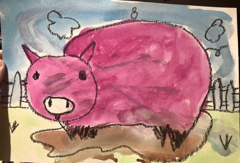 Pink and orange pig by Lenny & Tomoko
