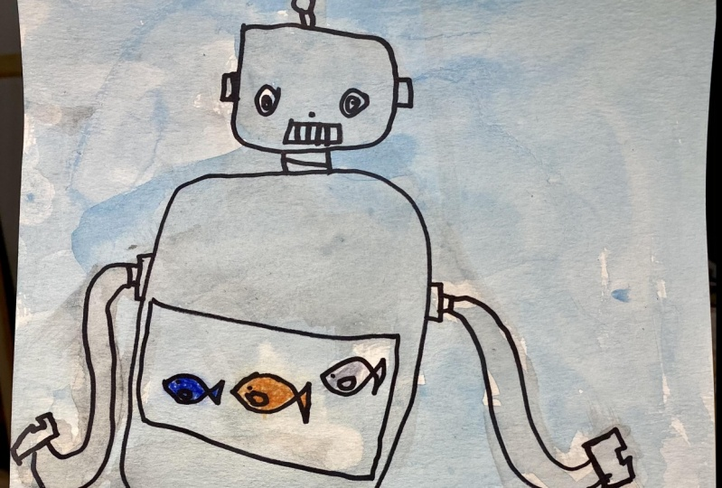 Robot with a fish tank by Lenny