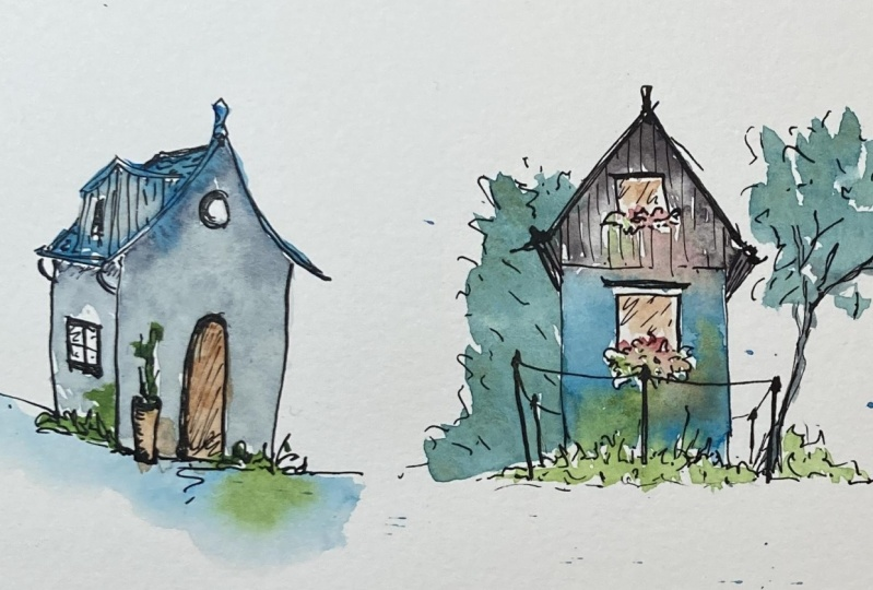 Watercolour and ink houses.