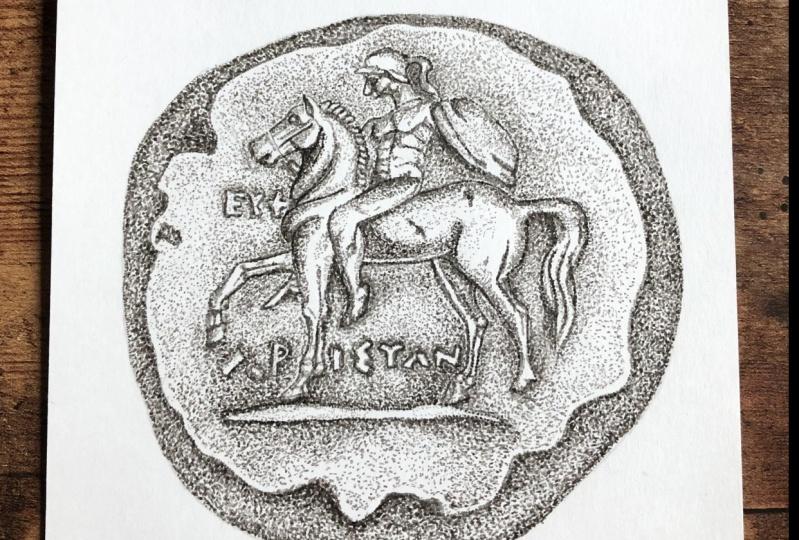 Stippling a Greek Coin