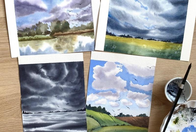 Watercolor Cloudy Skies