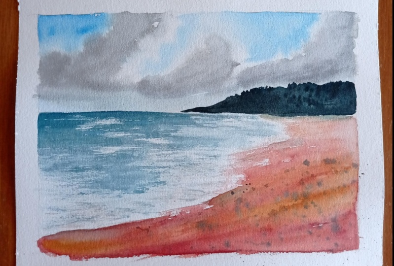 Clouds and Beach Watercolor