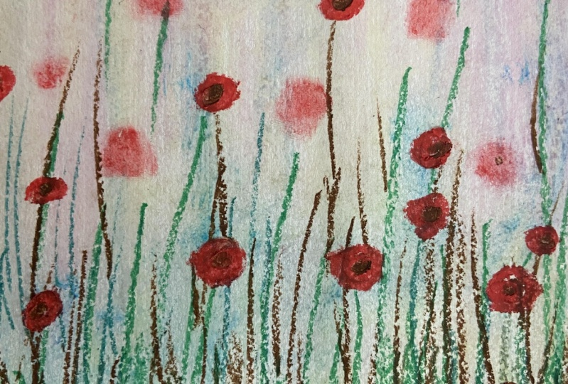 Floral Oil Pastel Drawing With Blurred Background