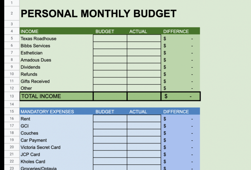 Excel/Google Sheets Personal Budget