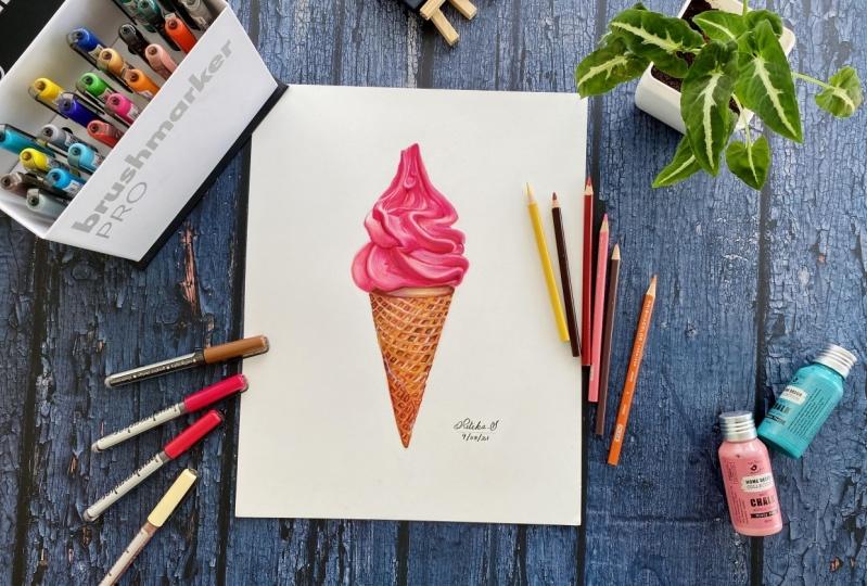 Ice cream a Realistic art