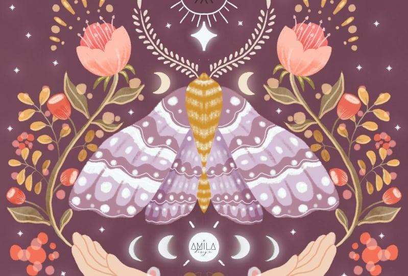 Mystical moth illustration