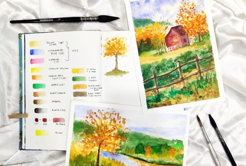 Autumn Landscapes in Watercolor