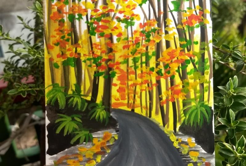 10 days of gouache autumn landscape with Nilam Roy