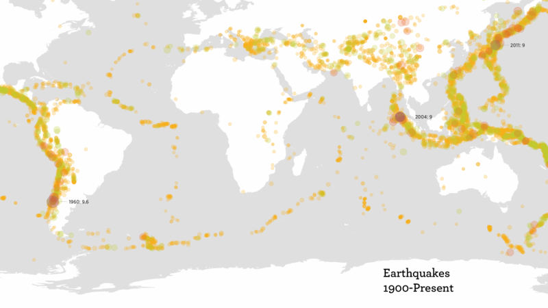 Earthquakes Visualized by Magnitude
