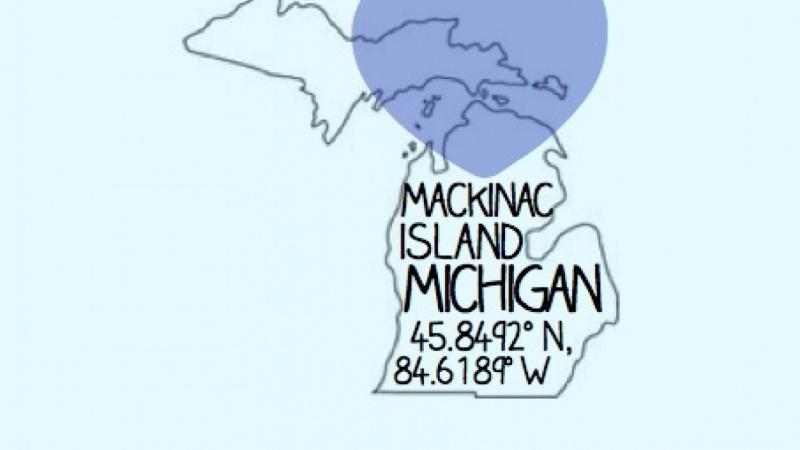 Mackinac Island Michigan Map - Fabric