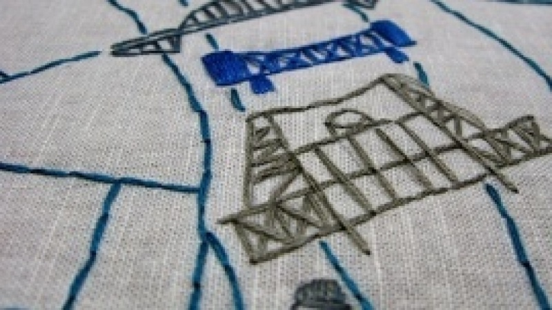 Embroidered Map of Portland, Oregon
