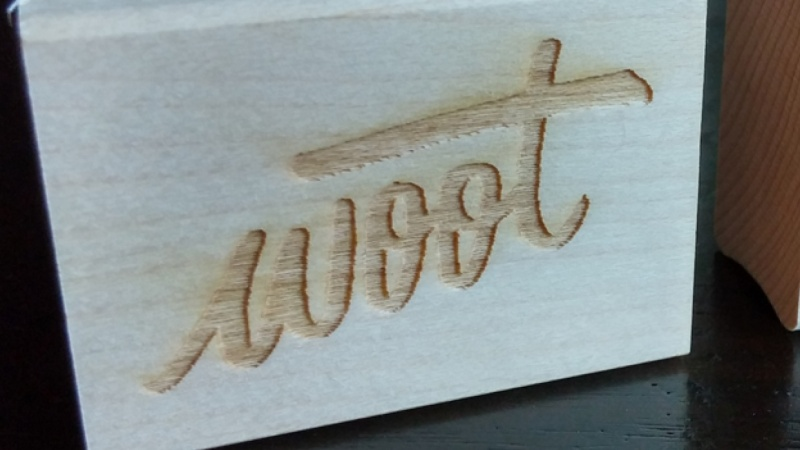 Woot Hand Lettered Rubber Stamp