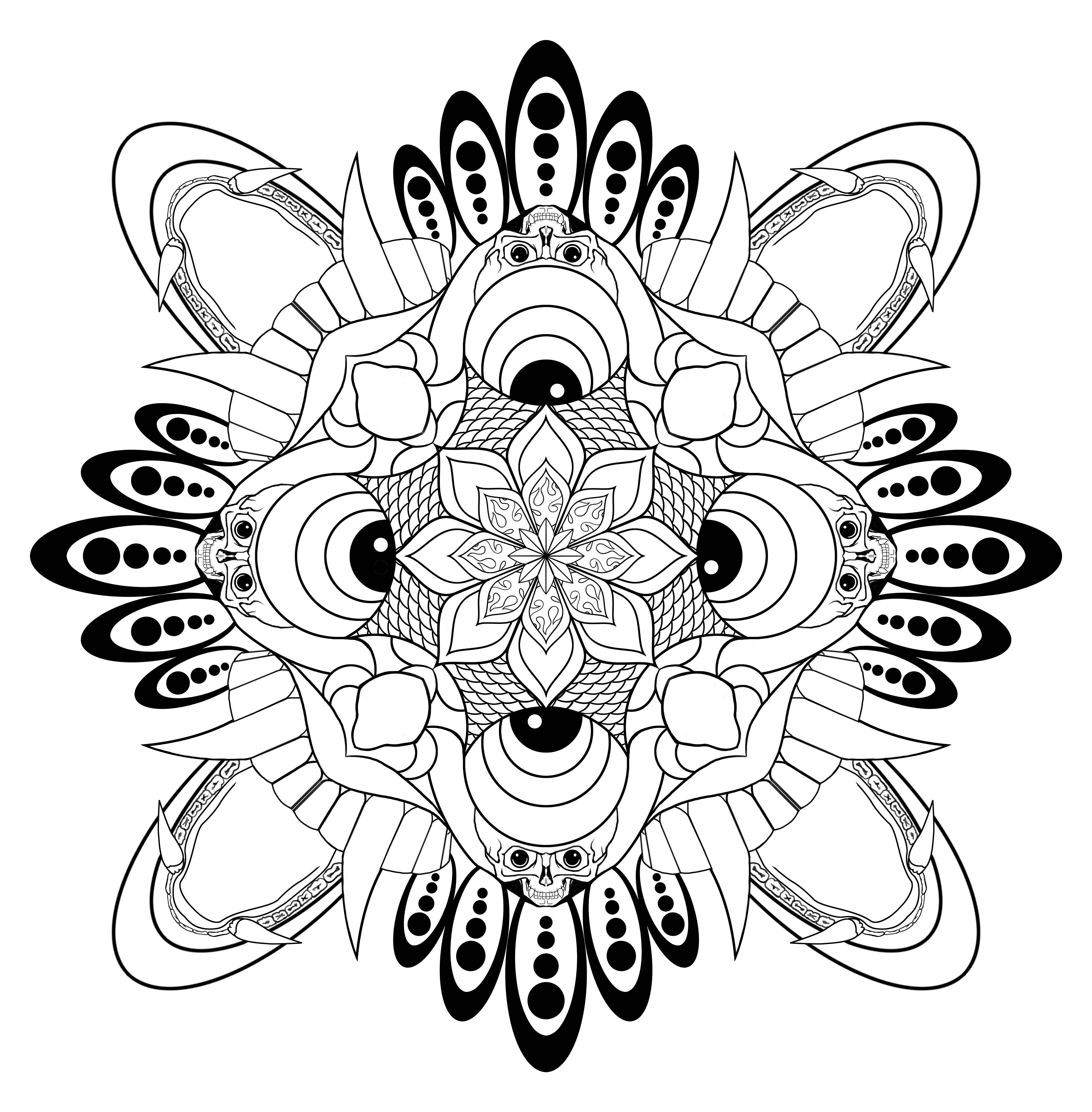 Here Is The Line Art Version Of My Mandala On To Color