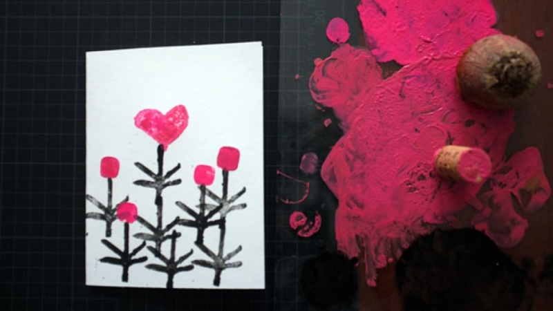 Card Printing with Found Objects & Carved Objects