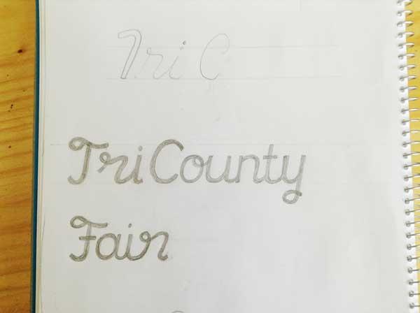 Tri County Fair lettering sketch