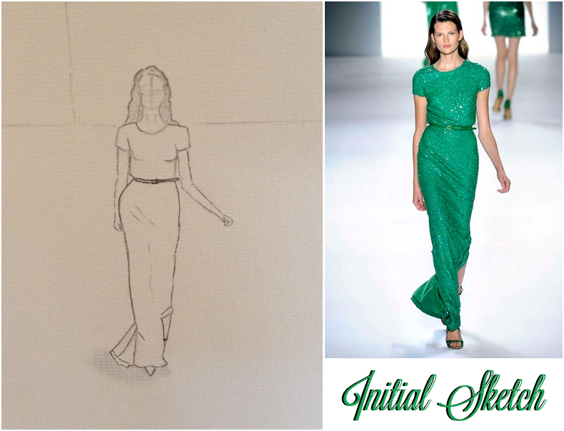 Final Sketches Elie Saab Emerald Dress And Pink Floral Dress Skillshare Projects