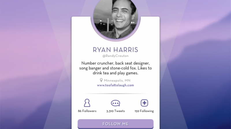 Ryan's Twitter Profile Card