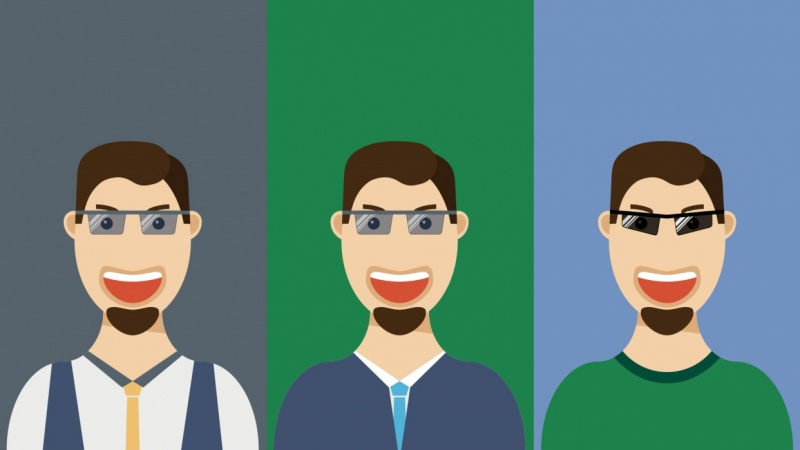 Flat Design Guy with Glases