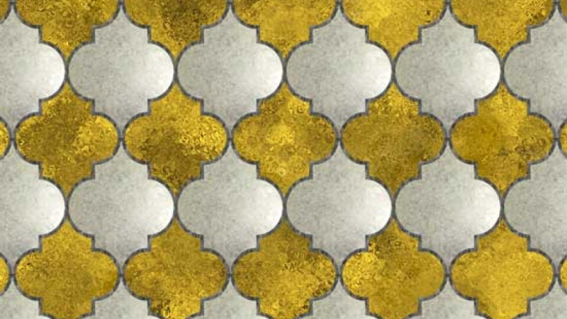 Moroccan Gold & Stone Tiled Pattern