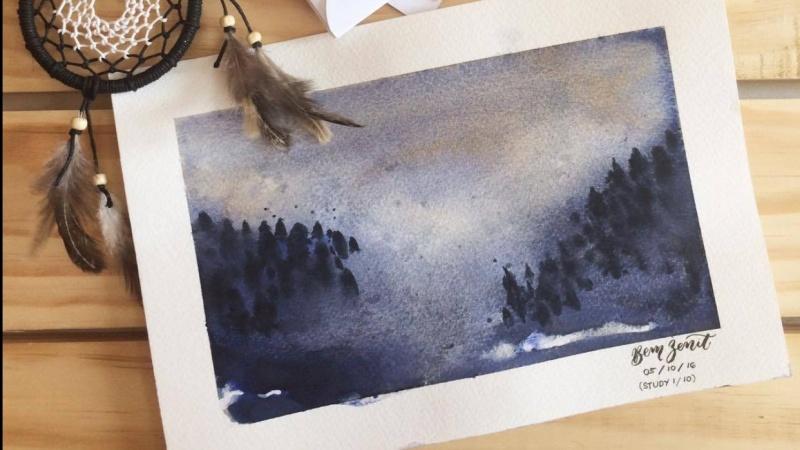 Watercolor mist study