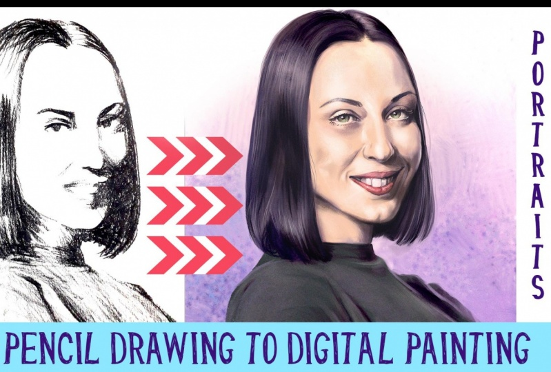 From pencil drawing to digital painting