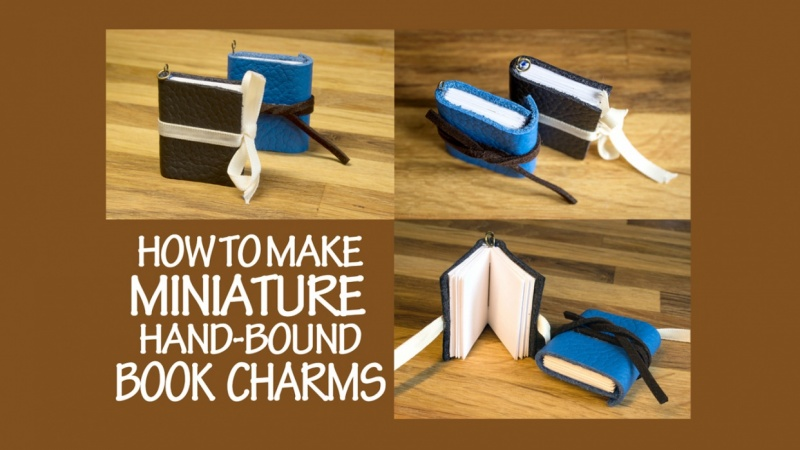 make your own teeny weeny leather book charms diy miniature bound